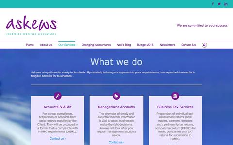 Screenshot of Services Page askews.co - Our Services | Askews Chartered Accountants - captured Nov. 21, 2016