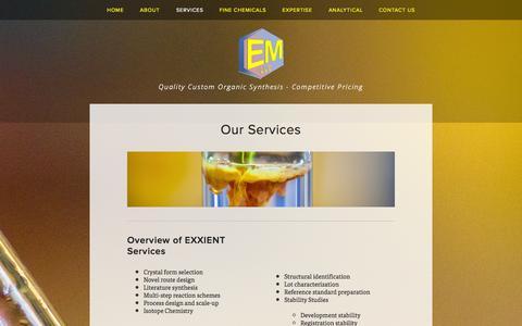 Screenshot of Services Page exxient.com - Services — EXXIENT Molecular, LLC - captured Oct. 3, 2014
