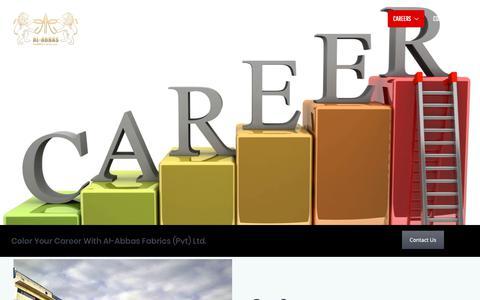 Screenshot of Jobs Page al-abbas.com - Careers – Al-Abbas Fabrics - captured Oct. 3, 2018