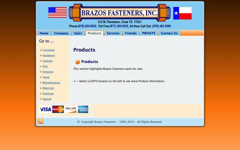 Screenshot of Products Page brazosfasteners.com - Products - captured Feb. 8, 2016