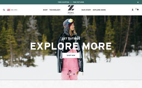 Screenshot of Home Page zealoptics.com - Zeal Optics US-Homepage - captured Oct. 29, 2015