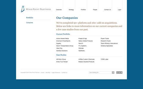 Screenshot of Case Studies Page wppartners.com - Companies | Portfolio | Wind Point Partners - captured Oct. 26, 2014