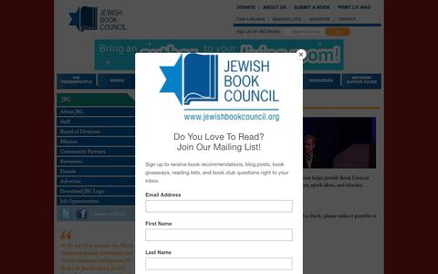 Screenshot of Support Page jewishbookcouncil.org - Support the JBC - captured Sept. 20, 2018