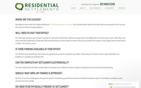 Screenshot of FAQ Page residentialsettlements.com.au - Frequently Asked Questions | Residential Settlements - captured June 17, 2017