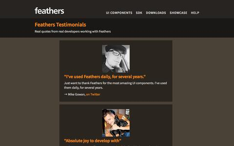 Screenshot of Testimonials Page feathersui.com - Testimonials - Feathers - Build user interfaces for games and applications with Feathers - captured Dec. 5, 2016