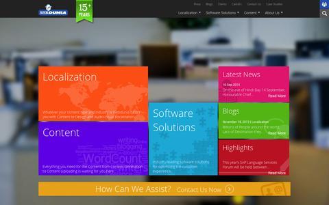 Screenshot of Home Page webdunia.net - Webdunia - captured Oct. 7, 2014