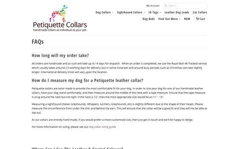 Screenshot of FAQ Page petiquettecollars.co.uk - FAQs - Petiquette Collars - captured Jan. 24, 2016