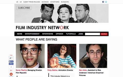 Screenshot of Testimonials Page filmindustrynetwork.biz - Testimonials - Film Industry Network - captured Oct. 25, 2015