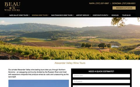 Alexander Valley Wine Tours and Tastings - Beau Wine Tours