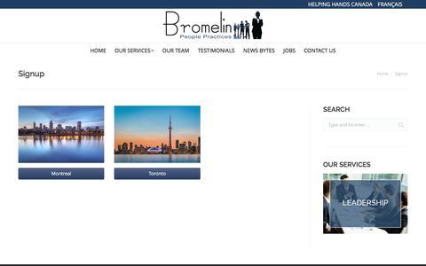 Screenshot of Signup Page bromelin.ca - Signup | Bromelin - captured Nov. 23, 2016