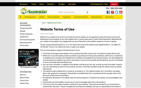 Screenshot of Terms Page aussiefitness.com.au - Website Terms of Use - captured Oct. 4, 2014