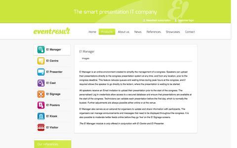 Screenshot of Products Page eventresult.com - E! Manager   Eventresult - captured Dec. 12, 2015