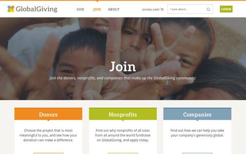 Screenshot of Signup Page globalgiving.org - Join GlobalGiving - captured March 3, 2016
