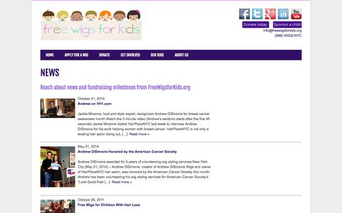 Screenshot of Press Page freewigsforkids.org - News - Free Wigs for Kids - captured Oct. 29, 2014