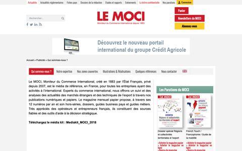 Screenshot of Services Page lemoci.com - Qui sommes-nous? Le MOCI, média référent du commerce international - Le Moci - captured Sept. 28, 2018