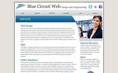 Screenshot of Services Page bluecircuitweb.com - Blue Circuit Web | Design and Programming - captured Oct. 5, 2014