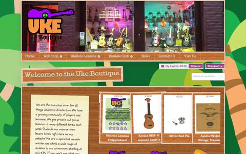 Screenshot of Home Page ukeboutique.nl - Welcome to Uke Boutique. Amsterdam's Ukulele Store and School - captured Sept. 30, 2014