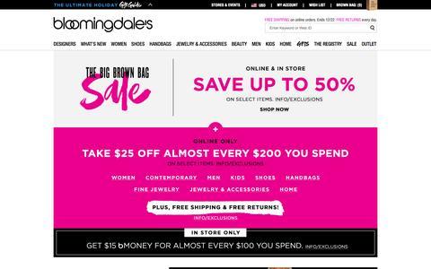 Screenshot of Home Page bloomingdales.com - Shop Bloomingdale's | Designer Dresses, Clothes, Shoes, Handbags, Cosmetics, Home and More - captured Nov. 23, 2015