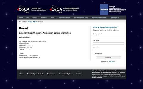 Screenshot of Contact Page spacecommerce.ca - Canadian Space Commerce Association – An Industry Group to Promote and Support Canadian Businesses |   Contact - captured Oct. 1, 2014