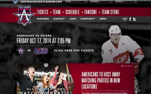 Screenshot of Home Page allenamericans.com - Allen Americans Professional Hockey Official Website - captured Oct. 4, 2014