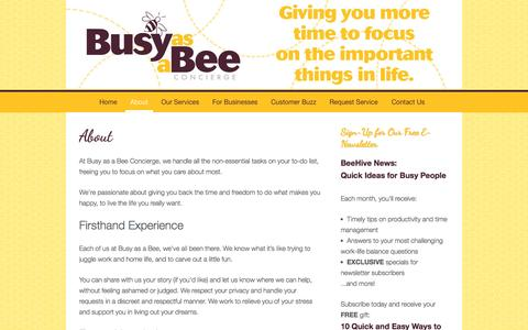 Screenshot of About Page busyasabeeconcierge.com - About :: Busy as a Bee Concierge - captured Sept. 30, 2014