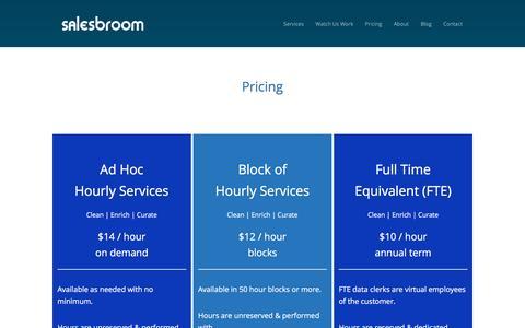 Screenshot of Pricing Page salesbroom.com - Pricing | Salesbroom human data cleanup clerks for CRM - captured Nov. 18, 2016