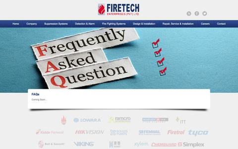 Screenshot of FAQ Page firetech.com.pk - FAQs | FIRETECH - captured Feb. 10, 2016
