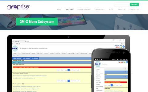 Screenshot of Menu Page geoprise.com - GM-X Menu Subsystem | Geoprise Technologies - captured Sept. 28, 2018