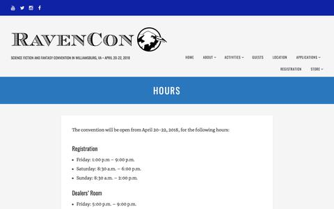 Screenshot of Hours Page ravencon.com - Hours - RavenCon - captured Jan. 25, 2018