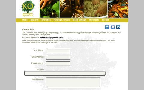 Screenshot of Contact Page kyreoak.co.uk - Contact us at Kyre Oak via this page - captured Sept. 30, 2014