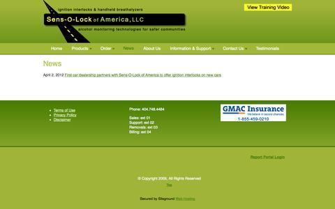 Screenshot of Press Page sensolock.com - News  | sensolockamerica.com - captured Oct. 7, 2014