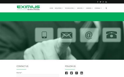 Screenshot of Contact Page eximiusdesign.com - Contact Us |  Eximius - captured July 13, 2018