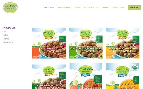 Screenshot of Products Page mommadefoods.com - Products — Mom Made Foods - captured July 4, 2016