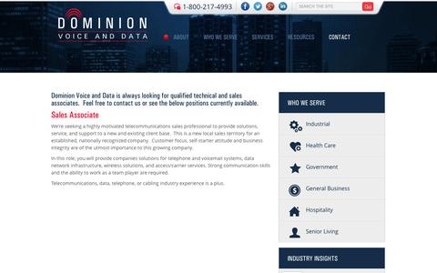 Screenshot of Jobs Page dominionvoiceanddata.com - Careers | Dominion Voice & Data - captured Sept. 30, 2014