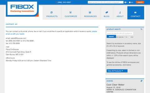 Screenshot of Contact Page fiboxusa.com - learn more about Nema 4x Non-metallic enclosures   Fibox non-metallic NEMA enclosures - captured Oct. 2, 2018