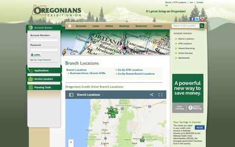 Screenshot of Locations Page oregonianscu.com - Oregonians Credit Union - Branch and ATM Locations - captured Nov. 30, 2016