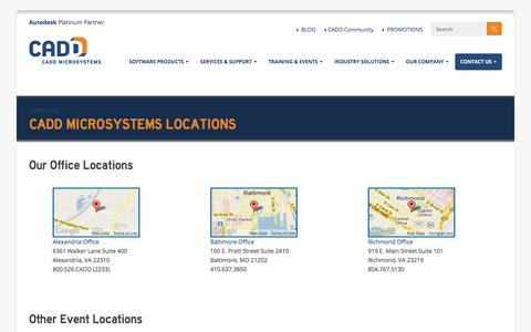 Screenshot of Contact Page Locations Page caddmicrosystems.com - CADD Microsystems Locations | CADD Microsystems - captured July 15, 2018