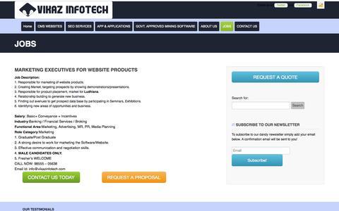 Screenshot of Jobs Page vikazinfotech.com - MARKETING EXECUTIVES FOR WEBSITE PRODUCTS - captured Nov. 5, 2014
