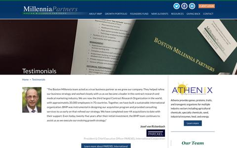Screenshot of Testimonials Page bostonmillenniapartners.com - Testimonials - Boston Millennia Partners - captured Aug. 3, 2018