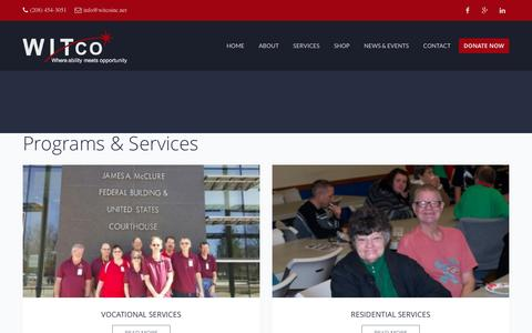 Screenshot of Services Page witcoinc.net - Services | Witco, Inc. - captured Dec. 14, 2016