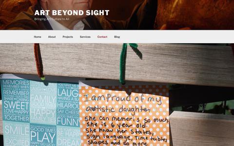 Screenshot of Contact Page wordpress.com - Contact – Art Beyond Sight - captured July 30, 2018