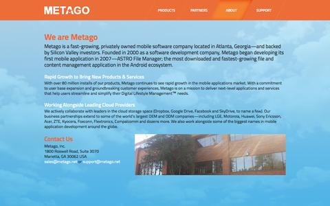 Screenshot of About Page metago.net - Metago - About - captured Oct. 31, 2014