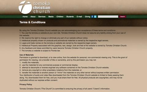 Screenshot of Terms Page tomoka.cc - Terms & Conditions | Tomoka Christian Church - captured Oct. 9, 2014