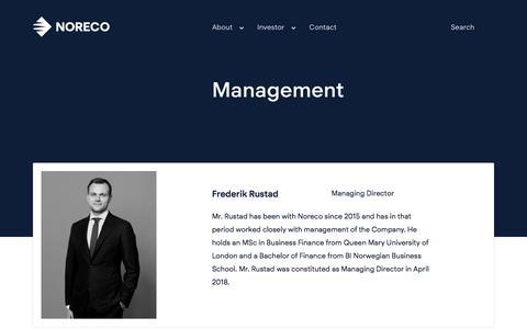 Screenshot of Team Page noreco.com - Management | Noreco - captured Sept. 21, 2018