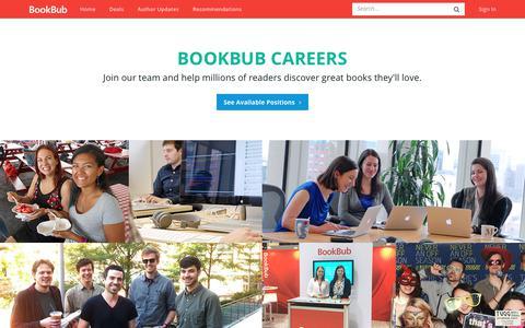Screenshot of Jobs Page bookbub.com - Careers - BookBub - captured Dec. 23, 2017