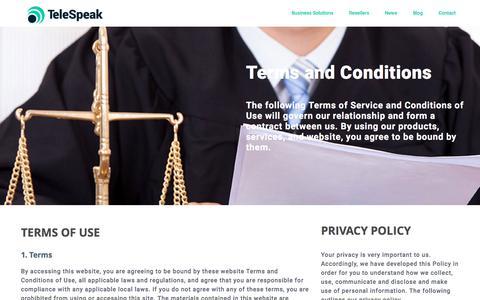 Screenshot of Privacy Page telespeak.net - Privacy policy | TeleSpeak - captured Dec. 2, 2016