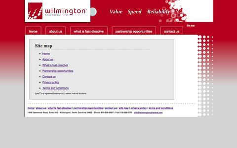 Screenshot of Site Map Page wilmingtonpharma.com - Site map | WilmingtonPharma.com - captured Sept. 13, 2014