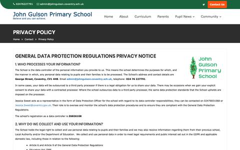 Screenshot of Privacy Page johngulson.coventry.sch.uk - Privacy Policy – John Gulson Primary School - captured Nov. 29, 2018