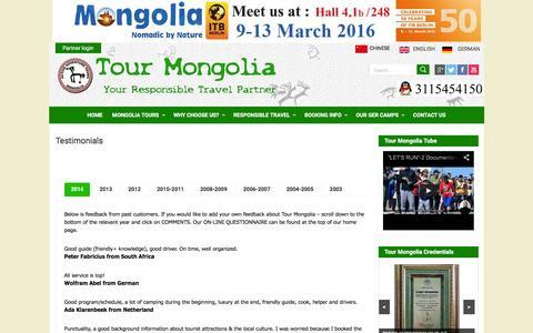 Screenshot of Testimonials Page tourmongolia.com - Testimonials | Tour Mongolia-Mongolian Tour Operator - captured Feb. 24, 2016