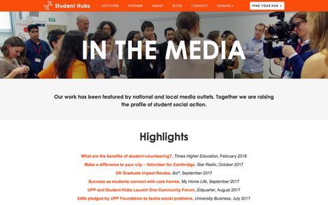 Screenshot of Press Page studenthubs.org - Media |  Student Hubs - captured June 13, 2018